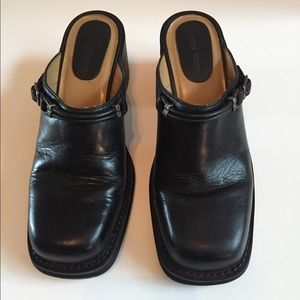 Black Leather Western Flare Clogs